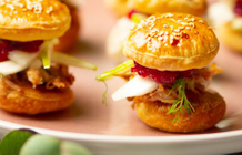 Mini pulled pork burgers with apple and cranberry